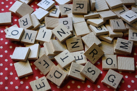Vintage Wooden Scrabble Pieces