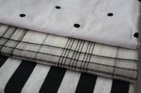 Reclaimed Bed Linens Fat Quarter Bundle- Black and White 2