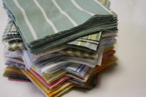 90 Reclaimed  Bed Linen Quilt Squares- Stripes