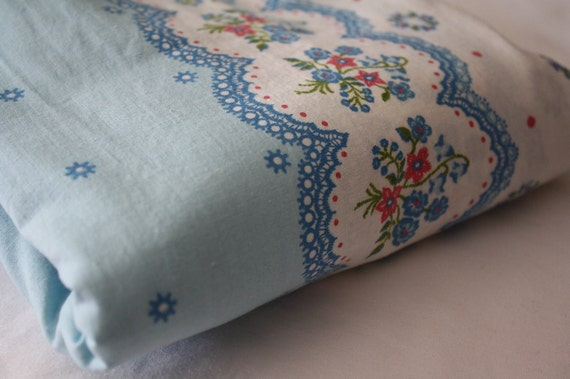 Vintage Floral Fabric-Blue Lace and Borders