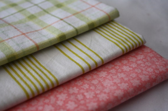 Fat Quarter Fabric-Reclaimed Bed Linens-Peaches and Olives