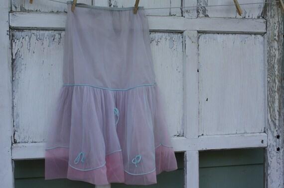 Vintage Layered Half Slip-Pink and Blue