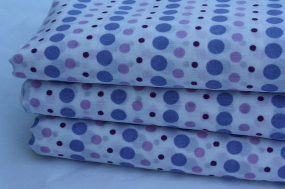 Purple Polka Dots- Reclaimed Bed Linen Fabric