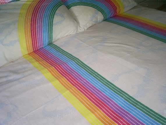 Vintage Rainbow Retro Bed Sheet And Two Pillowcases