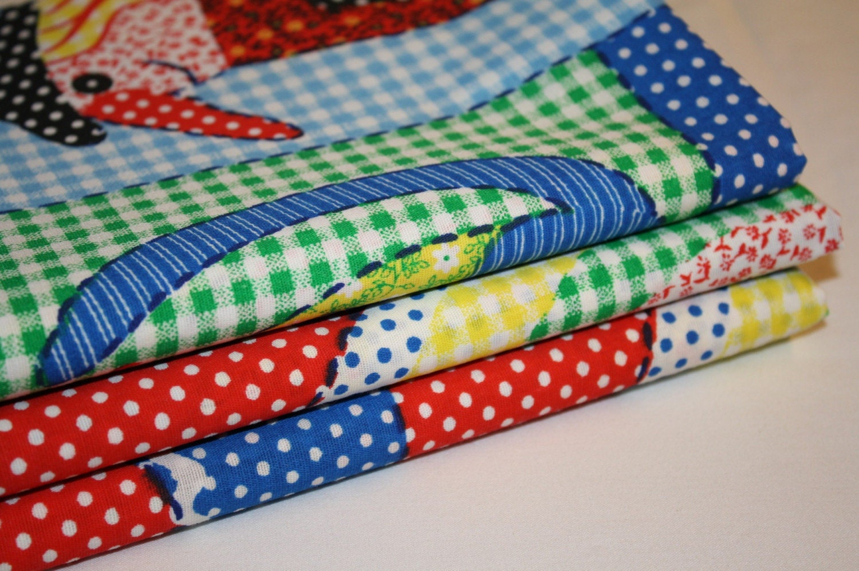 Vintage children patchwork panel print fabric for Vintage childrens fabric prints