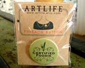 Certified Foodie pinback button badge - PACKAGED