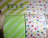 japanese washi masking tape, set of 2 wide rolls with polka dots and green stripes
