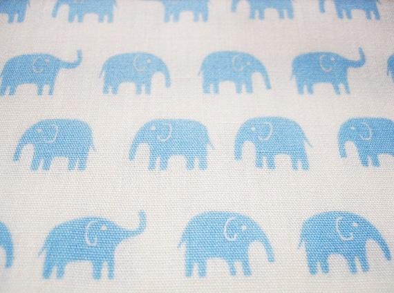 japanese cotton tiny elephant fabric, bight baby blue on white