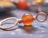 Copper and Carnelian Stitch Markers - Set of 4 Dual Duty