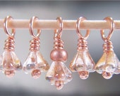 TINY GOLDEN - Copper Stitch Markers with Czech Glass - Set of 5 - Perfect for Sock Knitters - US3