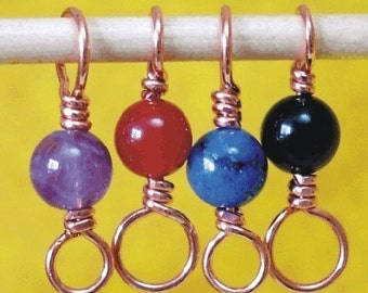 GEMMiX - Gemstone Beaded Copper Stitch Markers - Set of 4 Dual Duty - You Specify US4-US8, US3-US6 or US6-US11 Sizing