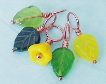 BUTTERCUP - Stitch Markers on Handmade Copper Headpins - Set of 5 - US8