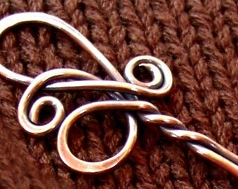 Elegant Copper Twist Shawl Pin - Hand and Heat Forged