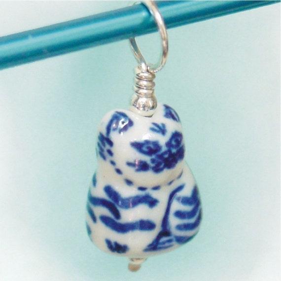 Cat - Sterling and Porcelain Stitch Marker