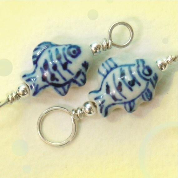 Fish - Sterling and Porcelain Stitch Marker - Dual Duty