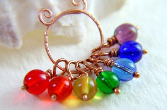 PRISM - Color Spectrum Stitch Markers  - Set of 7 - US3 - Includes Copper Marker Keeper