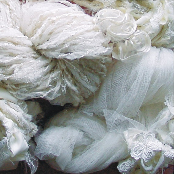 Handspun Art Yarn from my wedding dress  - 181 yds
