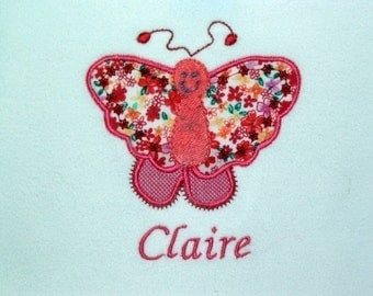 Personalized Bodysuit or Toddler Shirt Butterfly Applique for Baby Girls