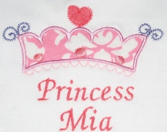 Personalized Bodysuit or Toddler Shirt tiny Princess Applique for Baby Girls