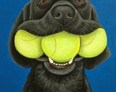 11 x 14 Fine Art Print on Wood Panel, Black Lab with Tennis Balls by Nesbitt