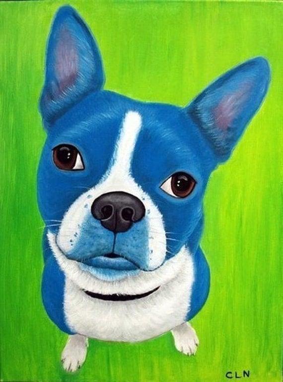 Pop Art,  Blue Dog Painting Boston Terrier Fine Art Print by Carol Iyer