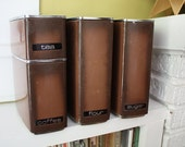 Lincoln Beauty Ware Canister Set.  Four pieces.  Mid Century Mod.