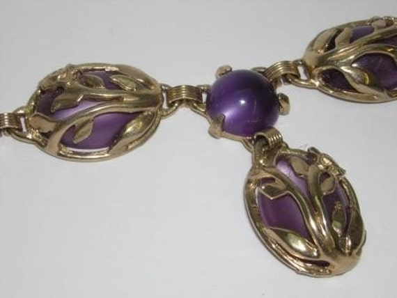60s Purple Faberge Egg Earring Necklace Set