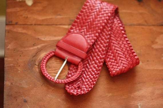 GOING VEGAN SALE.  Red braided leather belt.