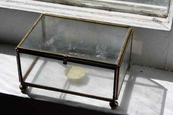 Glass Jewelry Box.  Hinged.