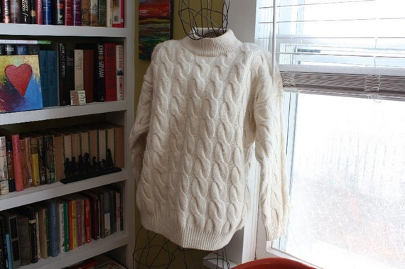 GOING VEGAN SALE United Colors of Benetton Heavy Wool Cableknit Sweater