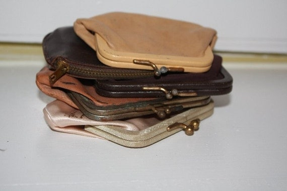 GOING VEGAN SALE Lot of five very old change purses.