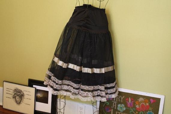Black Crinoline Petticoat.  Ruffles.  Frilly.