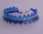 Bead Woven Smooth Blue Bracelet