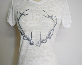 Silver Antlers Burnout T shirt