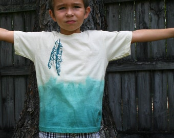 Teal Ombre Feathers Organic Toddler Shirt