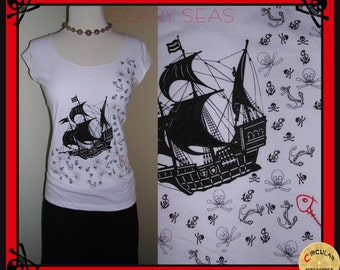 Scary Seas Pirate Ship Skulls and Anchors Shirt XL