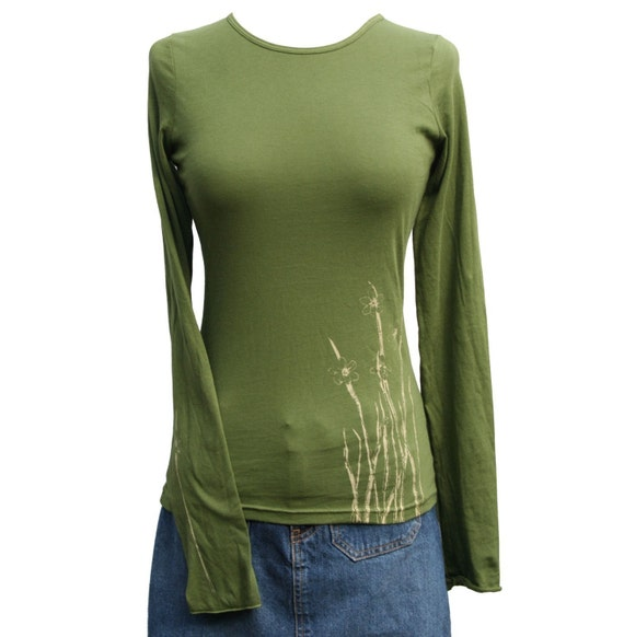 Olive Swamp Grass Sheer Jersey Top