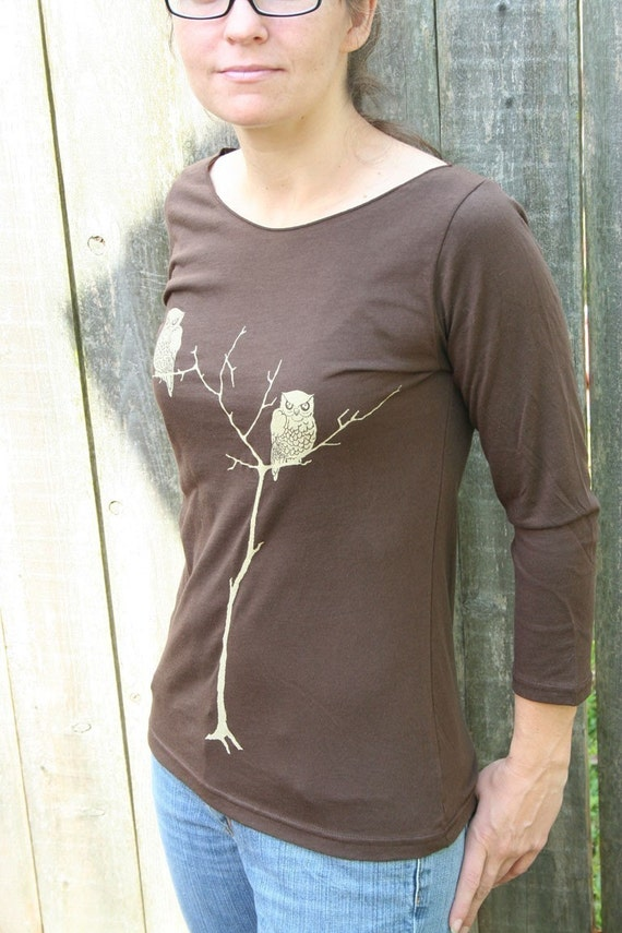 Sale Brown Tree Owls Boat Neck
