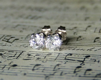 READY TO SHIP Brilliant Cut Crystal Clear Cubic Zirconia Diamond Earrings in Sterling Silver
