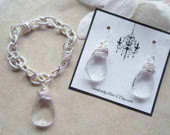 SET Chunky Silver Chain Bracelet and Earrings with Wrapped Teardrop