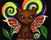 Fantasy Rainbow Fairy Kitty Cat ACEO ATC Print
