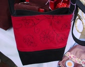 Red and Black Embroidered Purse
