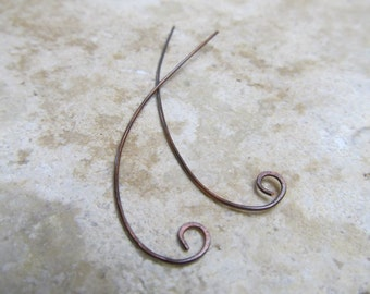 Antiqued Copper Ear Wires - 1 Pair