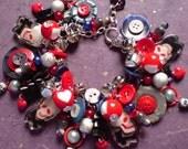 Skulls Bells & Buttons Chunky Charm Bracelet - goth, gothic lolita, Halloween, Day of the Dead, Dia de los Muertos, red purple black blue