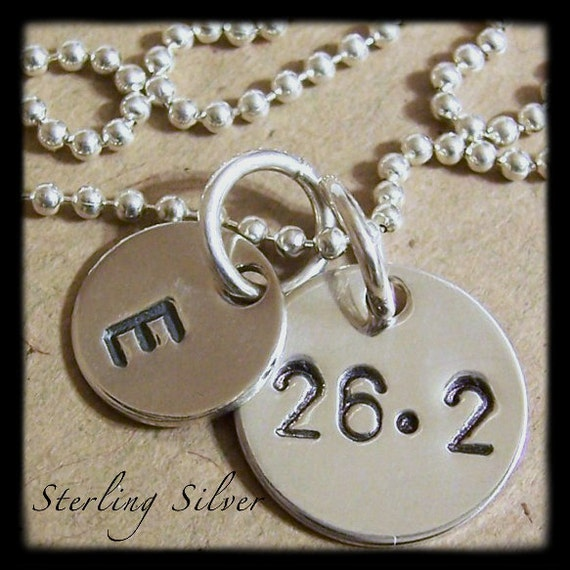 Personalized Necklace - Marathon Charm Necklace - 26.2 - Hand Stamped Initial - Sterling Silver - Personalized Jewelry - Runners Necklace