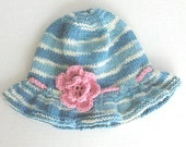 Denim Blue and White Cotton Sun Hat, Pink Flower