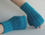Turquoise Wool Cabled Fingerless Gloves