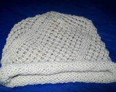 HANDKNIT CAP OPEN WEAVE HAT SKICAP UNISEX  SILK  WOOL SOFT M/L NATURAL CREAM