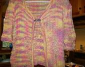 100 Percent cotton sherbet color  sweater  jacket  peplum style summer M 10 12 peach lemon raspberry pink