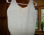 Hand knit pullover open  weave cotton rayon  YELLOW SIZE M 8 10 drapey soft sweater vest